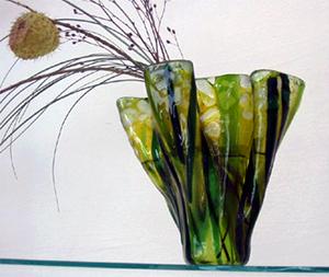 Faechervase, Glaskunst, Schlierbach, Dekoprodukt, Fusingglas